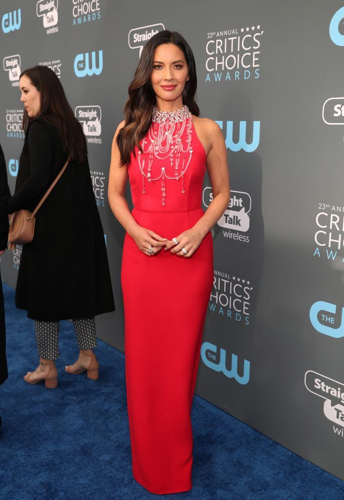 SANTA MONICA, CA - JANUARY 11:  Actor Olivia Munn attends The 23rd Annual Critics' Choice Awards at Barker Hangar on January 11, 2018 in Santa Monica, California.  (Photo by Christopher Polk/Getty Images for The Critics' Choice Awards  )