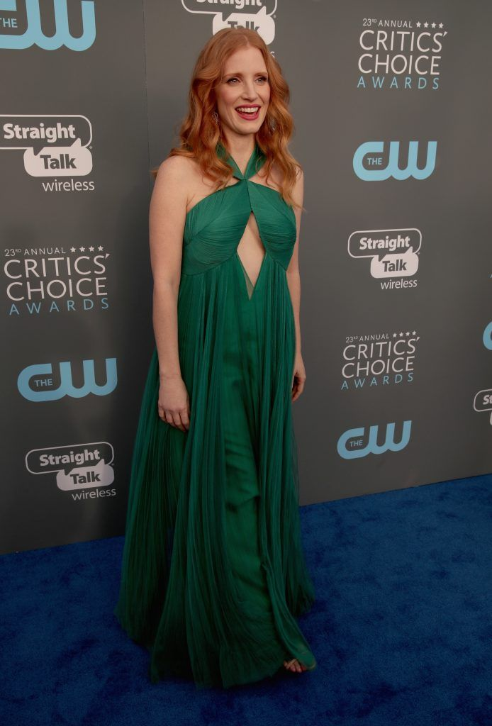SANTA MONICA, CA - JANUARY 11:  Actor Jessica Chastain attends The 23rd Annual Critics' Choice Awards at Barker Hangar on January 11, 2018 in Santa Monica, California.  (Photo by Christopher Polk/Getty Images for The Critics' Choice Awards  )