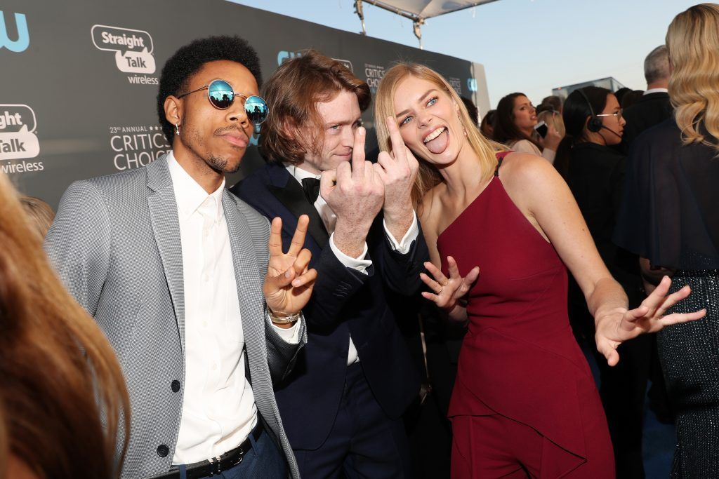 SANTA MONICA, CA - JANUARY 11:  (L-R) Actors Darrell Britt-Gibson, Caleb Landry Jones and Samara Weaving attend The 23rd Annual Critics' Choice Awards at Barker Hangar on January 11, 2018 in Santa Monica, California.  (Photo by Christopher Polk/Getty Images for The Critics' Choice Awards  )