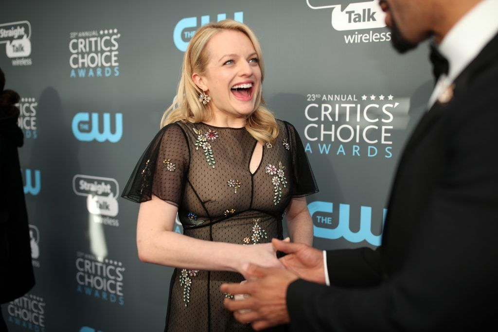 SANTA MONICA, CA - JANUARY 11:  Actor Elisabeth Moss attends The 23rd Annual Critics' Choice Awards at Barker Hangar on January 11, 2018 in Santa Monica, California.  (Photo by Christopher Polk/Getty Images for The Critics' Choice Awards  )