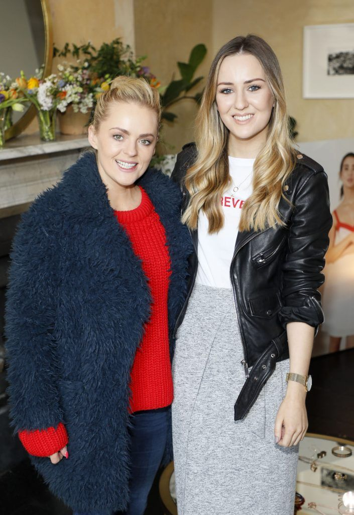Niamh Ryan and Sadhbh Higgins at the launch of Mint Velvet's new Spring/Summer 2018 collection at 23 Leinster Road -photo Kieran Harnett