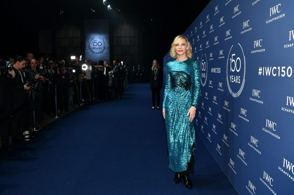 Cate Blanchett attends the IWC Schaffhausen Gala celebrating the Maisonis 150th anniversary on January 16, 2018 in Geneva, Switzerland. #IWC150  (Photo by Harold Cunningham/Getty Images for IWC)