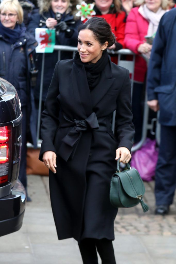 Meghan Markle arrives to a walkabout at Cardiff Castle on January 18, 2018 in Cardiff, Wales.  (Photo by Chris Jackson/Chris Jackson/Getty Images)