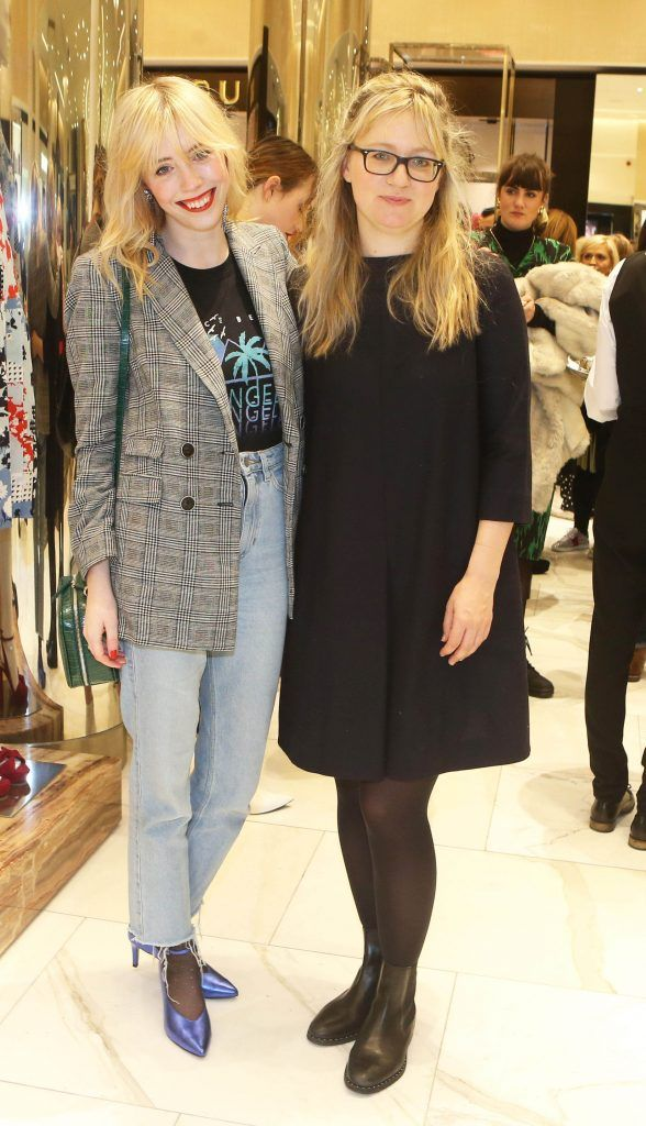 Sarah Hegarty and Leah Hynes in Brown Thomas Dublin for the S/S 2018 International Designer Collections. Photo: Leon Farrell/Photocall Ireland