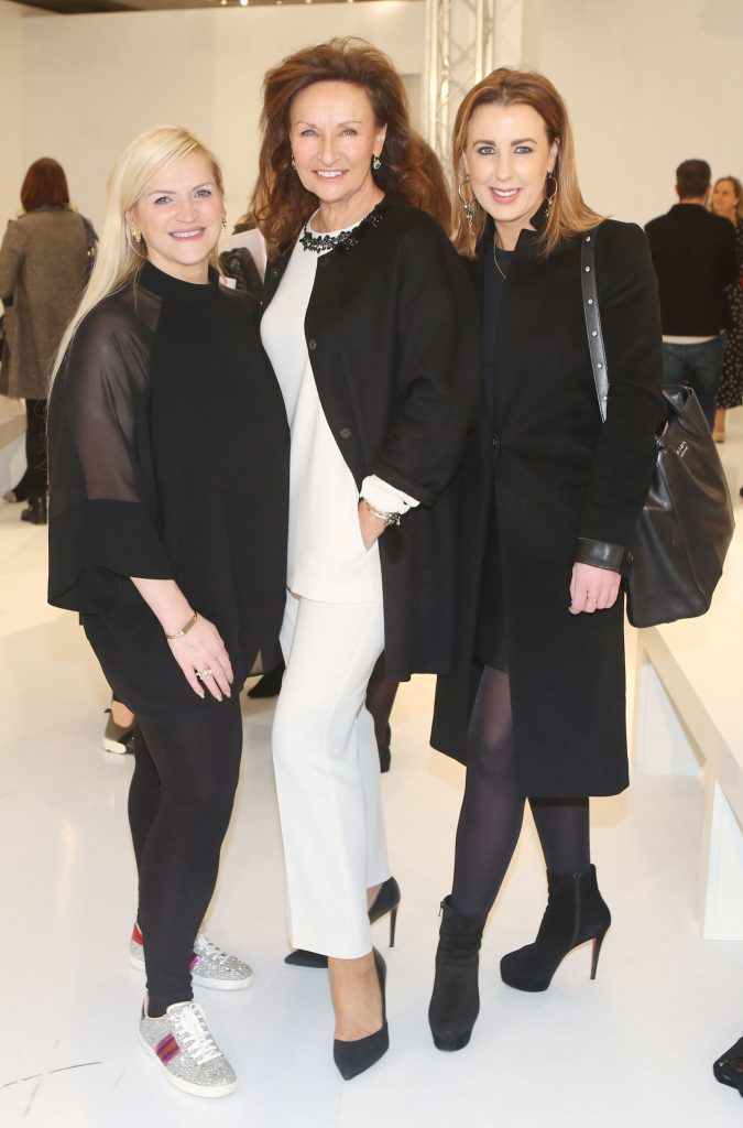Melaine Morris, Celia Holman Lee and Clodagh Edward in Brown Thomas Dublin for the S/S 2018 International Designer Collections. Photo: Leon Farrell/Photocall Ireland