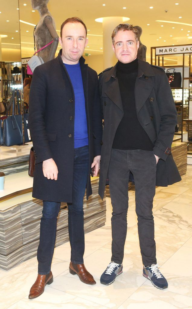 Richard Kavanagh and PJ Gibbons in Brown Thomas Dublin for the S/S 2018 International Designer Collections. Photo: Leon Farrell/Photocall Ireland