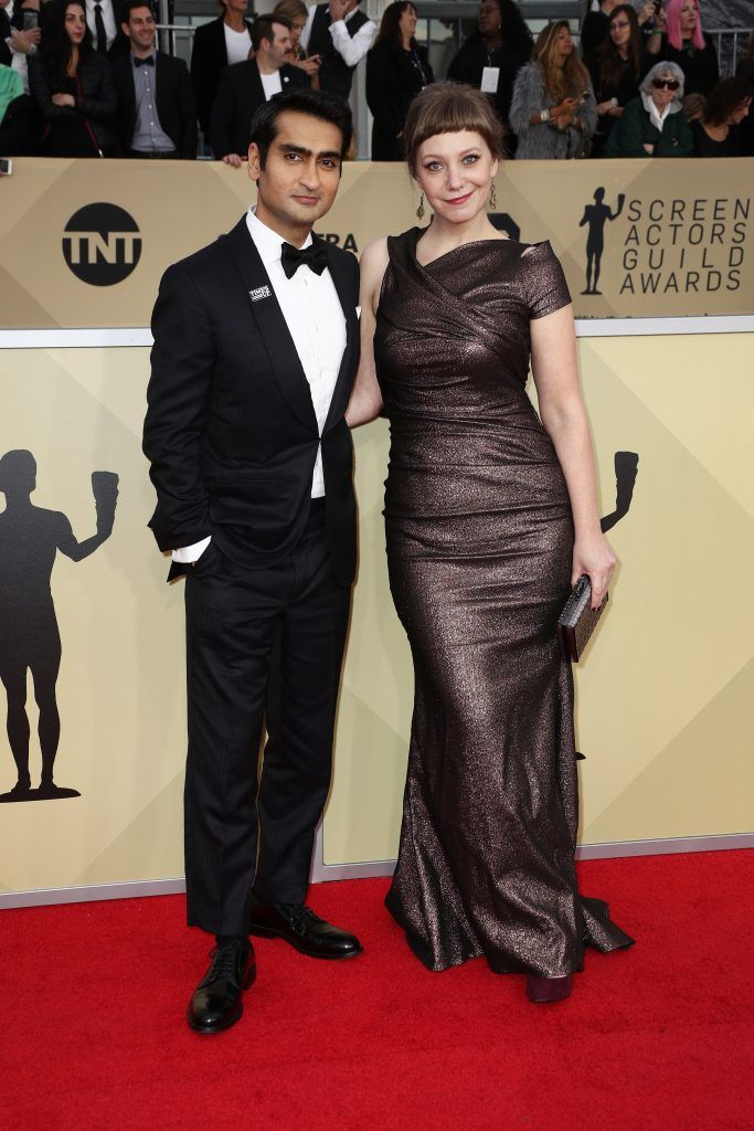 LOS ANGELES, CA - JANUARY 21: Actor Kumail Nanjiani (L) and screenwriter Emily V. Gordon  attend the 24th Annual Screen Actors Guild Awards at The Shrine Auditorium on January 21, 2018 in Los Angeles, California. 27522_017  (Photo by Frederick M. Brown/Getty Images)