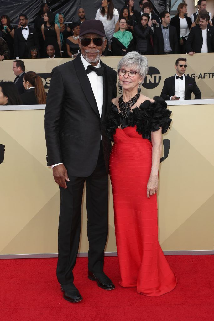 LOS ANGELES, CA - JANUARY 21:  Actors Morgan Freeman (L) and Rita Moreno attend the 24th Annual Screen Actors Guild Awards at The Shrine Auditorium on January 21, 2018 in Los Angeles, California. 27522_017  (Photo by Frederick M. Brown/Getty Images)