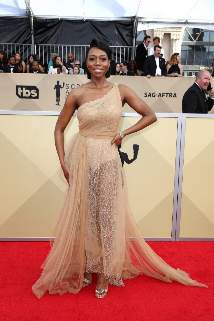 LOS ANGELES, CA - JANUARY 21:  Actor Amanda Warren attends the 24th Annual Screen Actors Guild Awards at The Shrine Auditorium on January 21, 2018 in Los Angeles, California. 27522_017  (Photo by Frederick M. Brown/Getty Images)