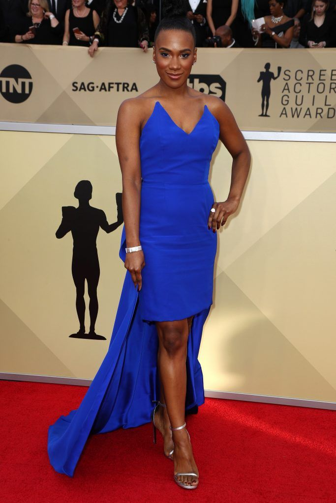 LOS ANGELES, CA - JANUARY 21:  Actor Vicky Jeudy attends the 24th Annual Screen Actors Guild Awards at The Shrine Auditorium on January 21, 2018 in Los Angeles, California. 27522_017  (Photo by Frederick M. Brown/Getty Images)
