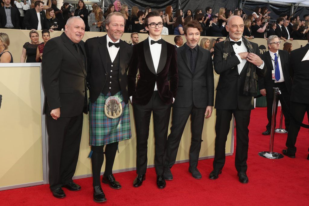 LOS ANGELES, CA - JANUARY 21:  (L-R) Actors Conleth Hill, Iain Glen, Isaac Hempstead Wright, Aidan Gillen and James Faulkner attend the 24th Annual Screen Actors Guild Awards at The Shrine Auditorium on January 21, 2018 in Los Angeles, California. 27522_017  (Photo by Frederick M. Brown/Getty Images)