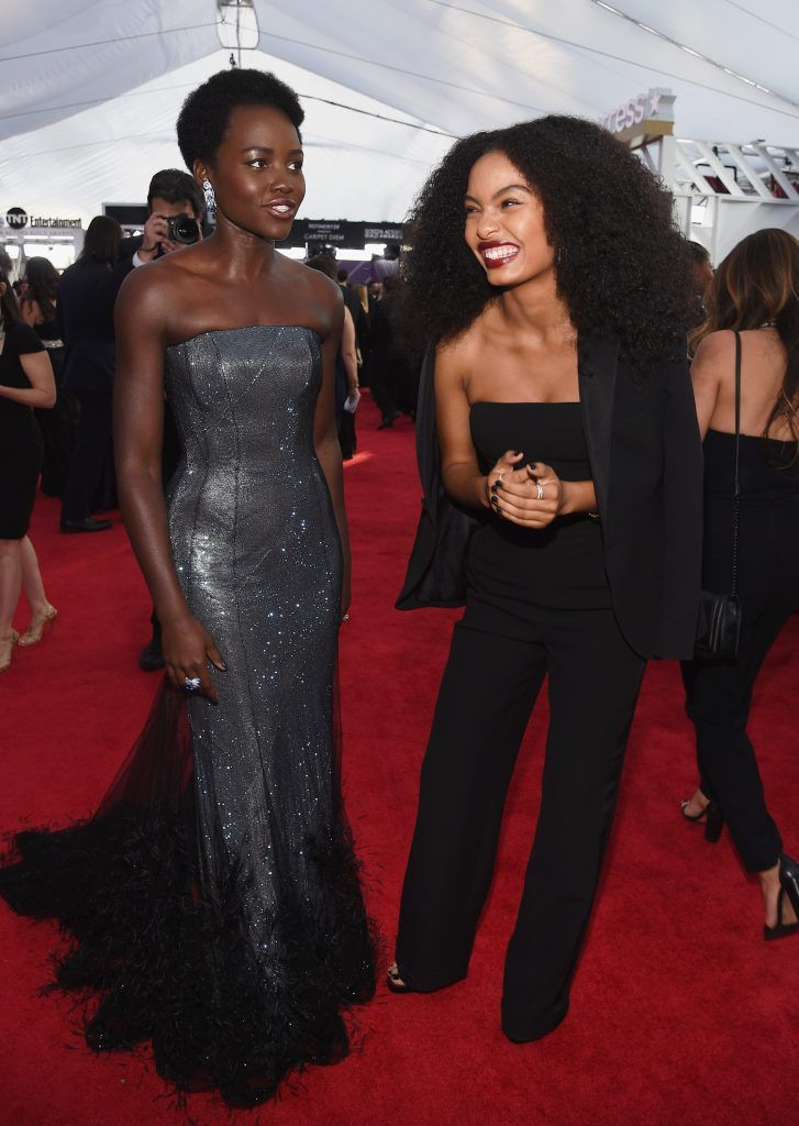 LOS ANGELES, CA - JANUARY 21:  Actors Lupita Nyong'o (L) and Yara Shahidi attend the 24th Annual Screen ActorsGuild Awards at The Shrine Auditorium on January 21, 2018 in Los Angeles, California.  (Photo by Kevork Djansezian/Getty Images)