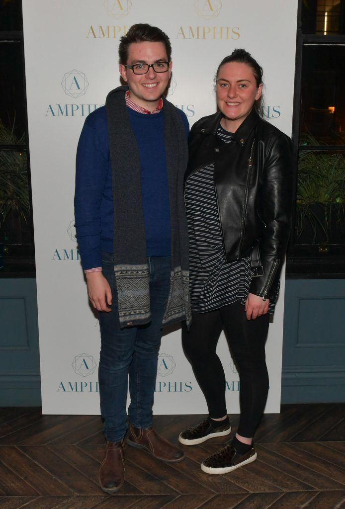 Alan Young and Rebecca Flynn at the launch of Amphis beauty, an Irish luxury range of marine nutricosmetics which have been scientifically developed to offer a more comprehensive and holistic approach to maintaining skin, bone health, hair and nails. Pictures: Jerry McCarthy