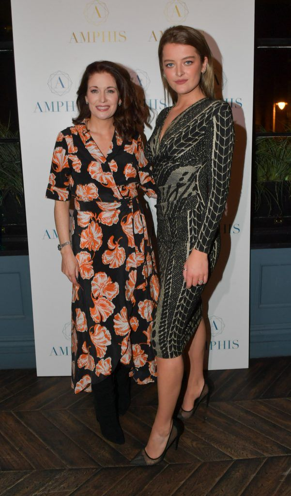 Roz Martin and Georgia May Power at the launch of Amphis beauty, an Irish luxury range of marine nutricosmetics which have been scientifically developed to offer a more comprehensive and holistic approach to maintaining skin, bone health, hair and nails. Pictures: Jerry McCarthy