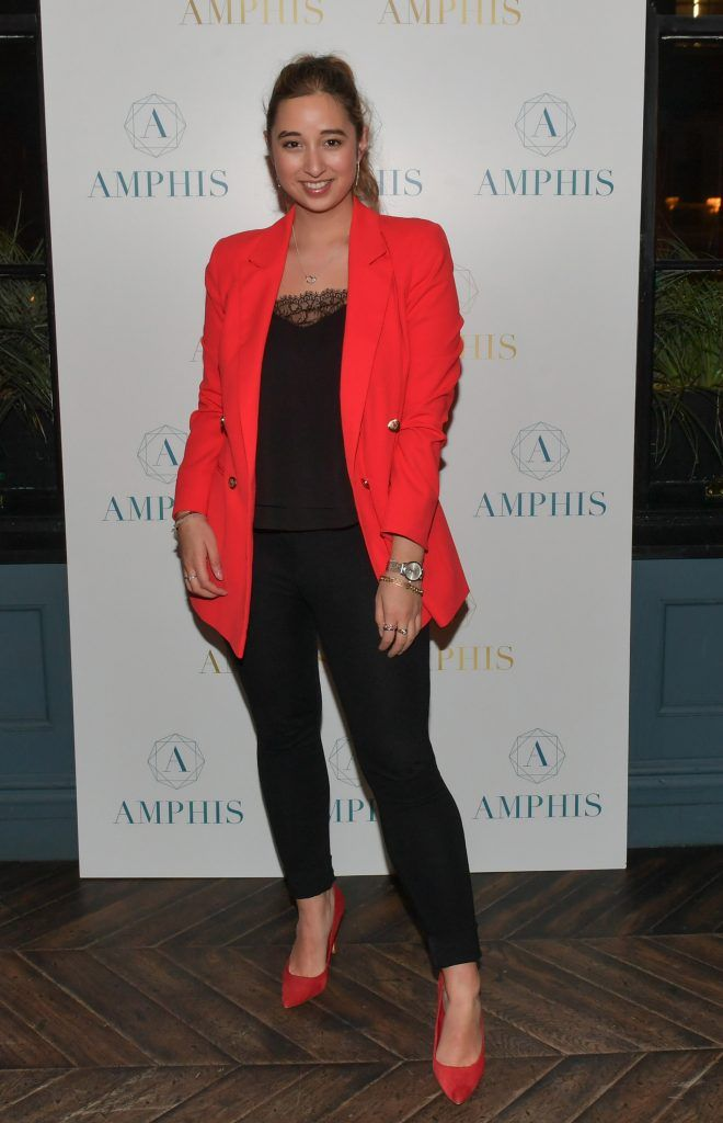 Nirina Plunkett at the launch of Amphis beauty, an Irish luxury range of marine nutricosmetics which have been scientifically developed to offer a more comprehensive and holistic approach to maintaining skin, bone health, hair and nails. Pictures: Jerry McCarthy