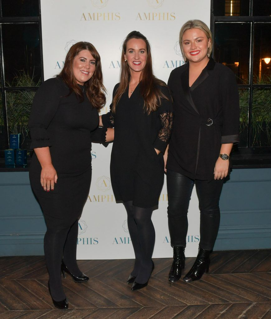 Yvie O'Toole, Grace Mc Grane and Kelly (Monroe Recruitment) at the launch of Amphis beauty, an Irish luxury range of marine nutricosmetics which have been scientifically developed to offer a more comprehensive and holistic approach to maintaining skin, bone health, hair and nails. Pictures: Jerry McCarthy