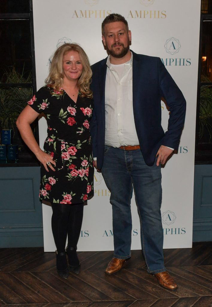 Fiona Martin and Andre Fjlde at the launch of Amphis beauty, an Irish luxury range of marine nutricosmetics which have been scientifically developed to offer a more comprehensive and holistic approach to maintaining skin, bone health, hair and nails. Pictures: Jerry McCarthy