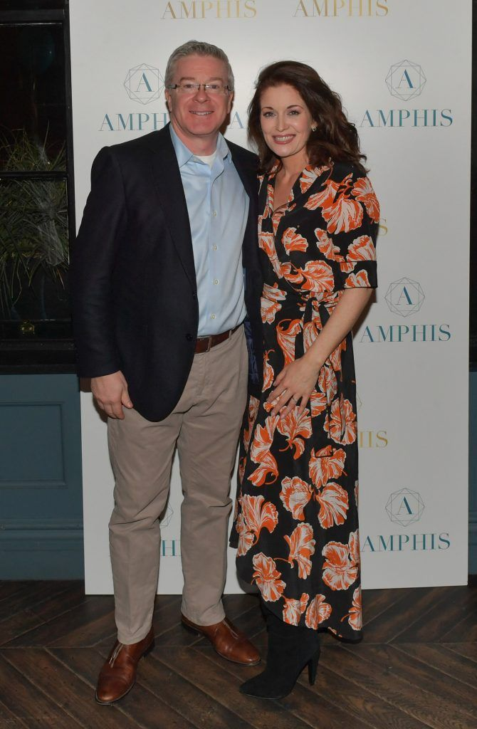 Frank Norton and Roz Martin at the launch of Amphis beauty, an Irish luxury range of marine nutricosmetics which have been scientifically developed to offer a more comprehensive and holistic approach to maintaining skin, bone health, hair and nails. Pictures: Jerry McCarthy