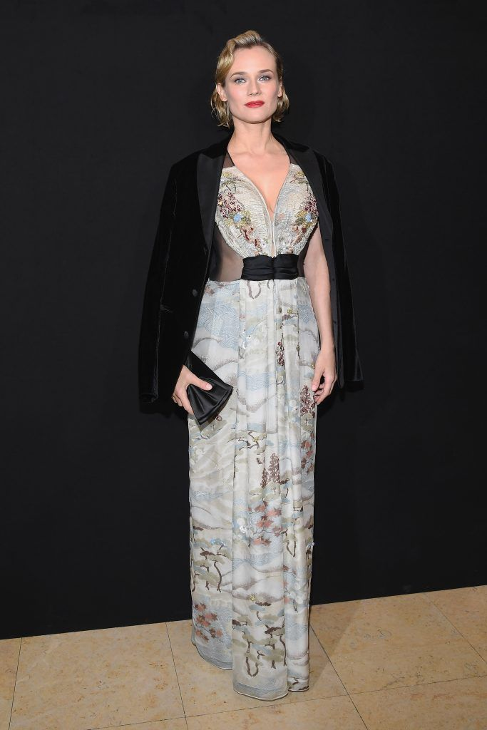 Diane Kruger attends the Giorgio Armani Prive Haute Couture Spring Summer 2018 show as part of Paris Fashion Week on January 23, 2018 in Paris, France.  (Photo by Pascal Le Segretain/Getty Images)