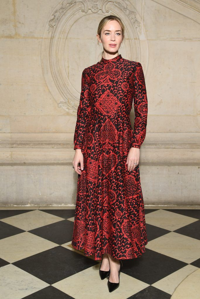 Emily Blunt attends the Christian Dior Haute Couture Spring Summer 2018 show as part of Paris Fashion Week on January 22, 2018 in Paris, France.  (Photo by Pascal Le Segretain/Getty Images for Christian Dior)