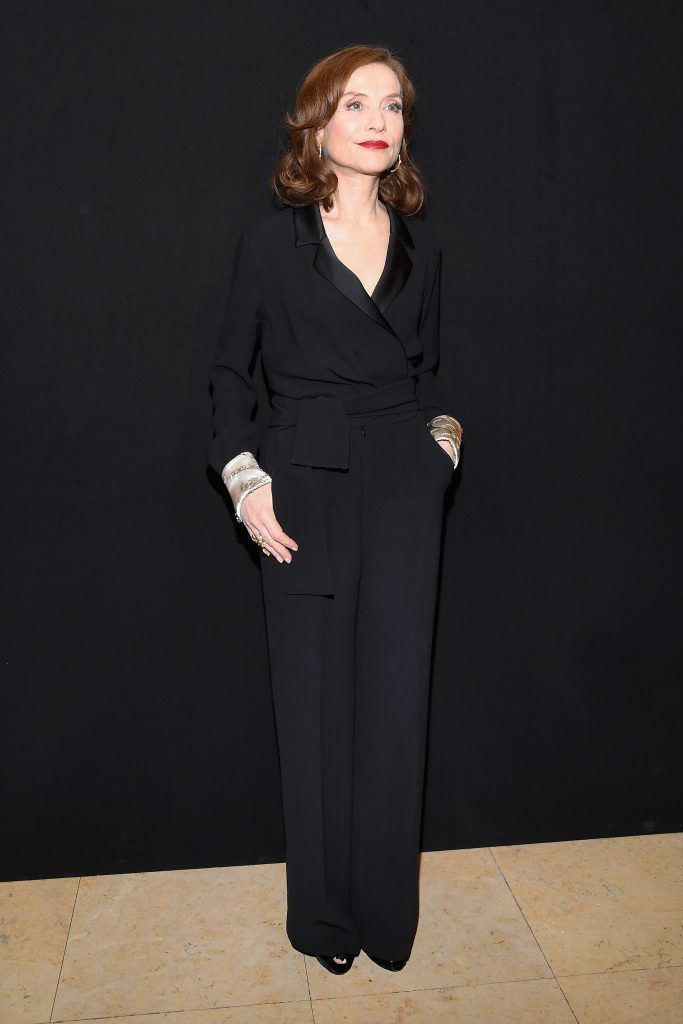 Isabelle Huppert attends the Giorgio Armani Prive Haute Couture Spring Summer 2018 show as part of Paris Fashion Week on January 23, 2018 in Paris, France.  (Photo by Pascal Le Segretain/Getty Images)
