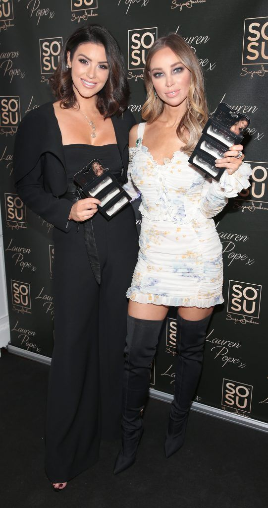 Suzanne Jackson and Lauren Pope at the launch of the SOSU By SJ Lauren Pope Faux Mink Lash Collection at the Cliff Townhouse, Dublin. Photo by Brian McEvoy
