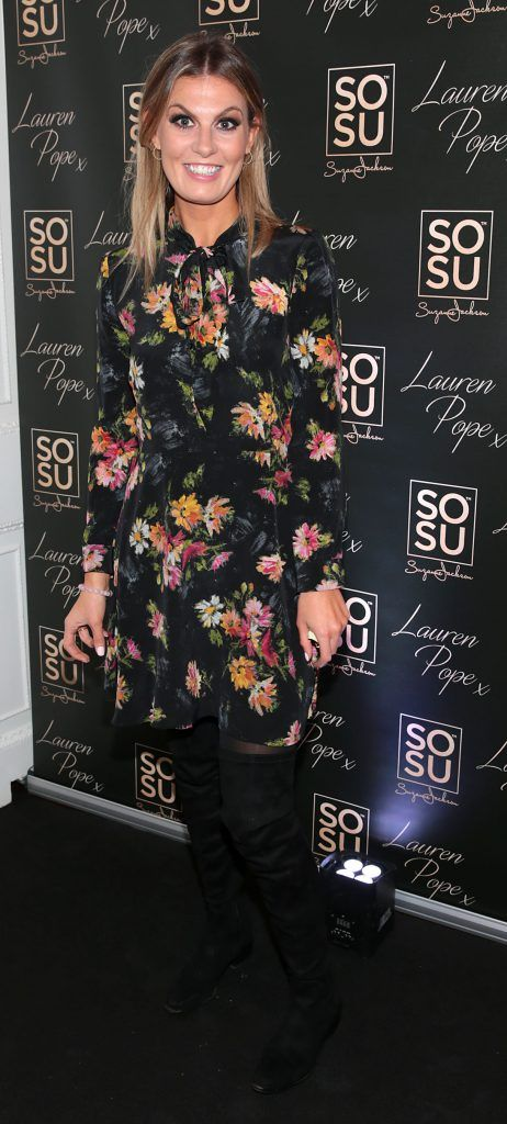 Mary Cromer at the launch of the SOSU By SJ Lauren Pope Faux Mink Lash Collection at the Cliff Townhouse, Dublin. Photo by Brian McEvoy