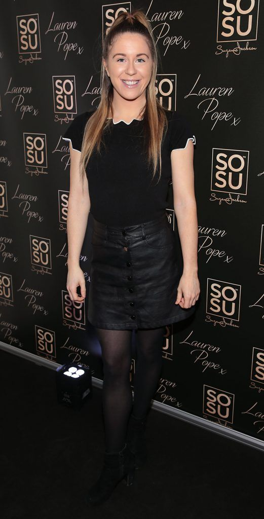 Sarah Curran at the launch of the SOSU By SJ Lauren Pope Faux Mink Lash Collection at the Cliff Townhouse, Dublin. Photo by Brian McEvoy