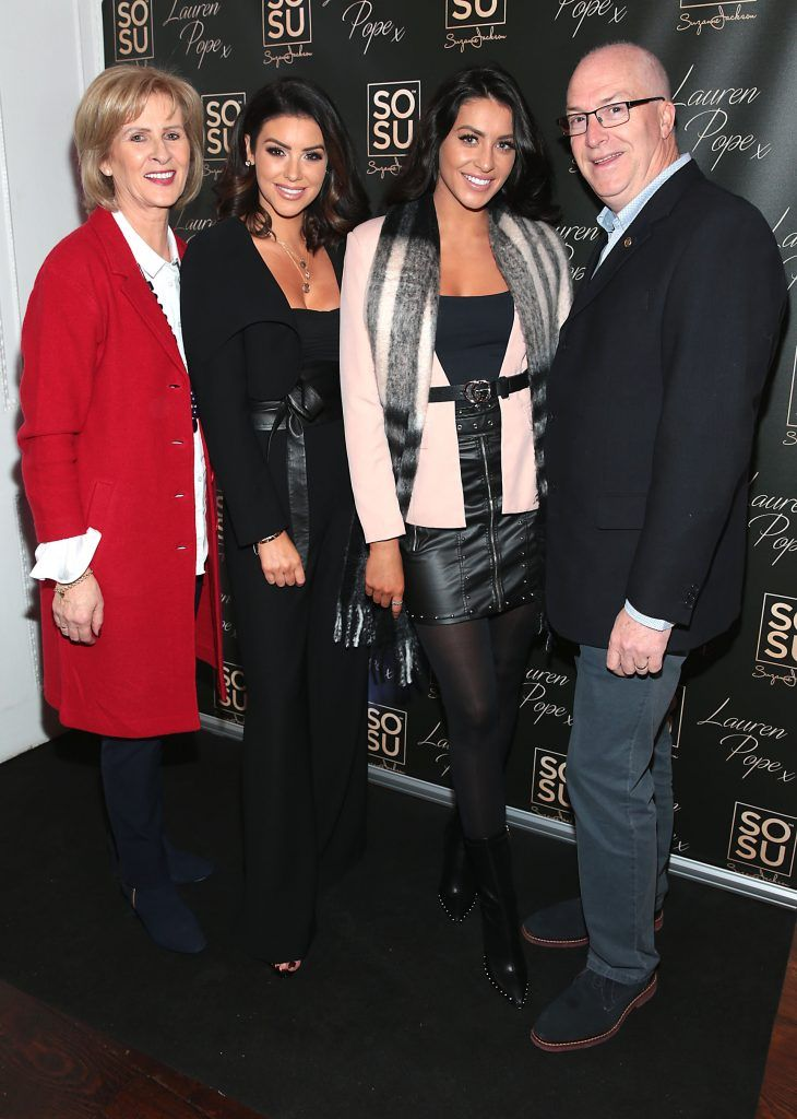 Susan Jackson, Suzanne Jackson, Carla Jackson and Damien Jackson at the launch of the SOSU By SJ Lauren Pope Faux Mink Lash Collection at the Cliff Townhouse, Dublin. Photo by Brian McEvoy