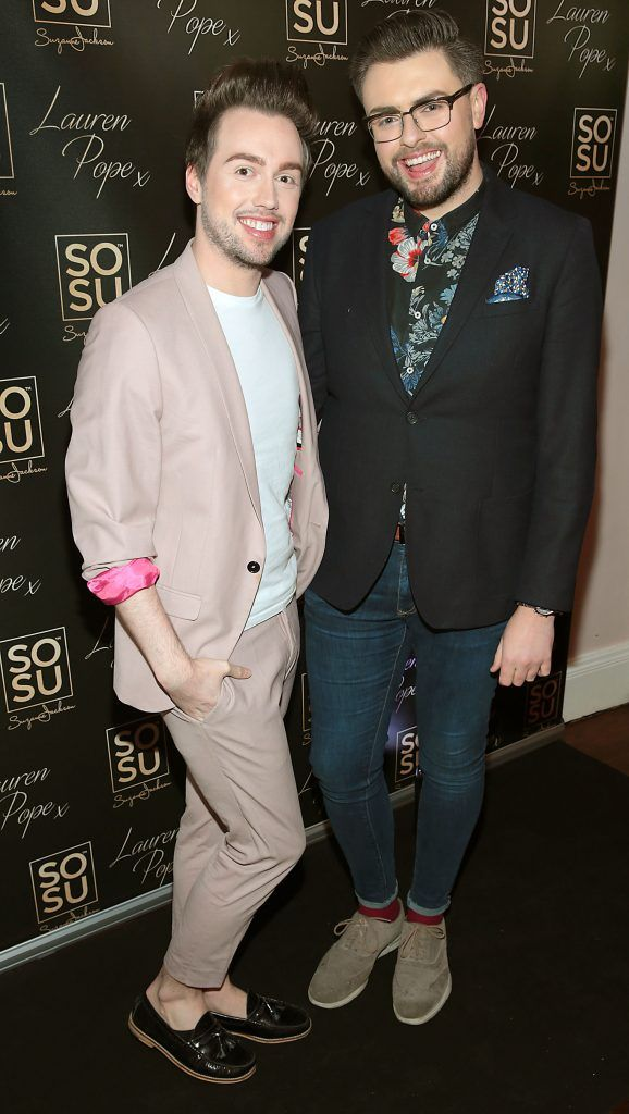 Mark Rogers and James Patrice Butler at the launch of the SOSU By SJ Lauren Pope Faux Mink Lash Collection at the Cliff Townhouse, Dublin. Photo by Brian McEvoy