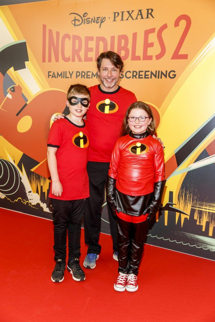 Aidan (10) Emma (8) and Mathew Hynes from Dublin pictured at the special family preview screening of Incredibles 2 in ODEON Point Village. Picture Andres Poveda