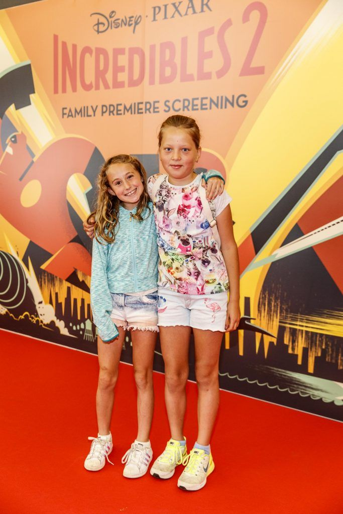 Darci Hopkins (9) and Anastacia Soladcia pictured at the special family preview screening of Incredibles 2 in ODEON Point Village. Picture Andres Poveda