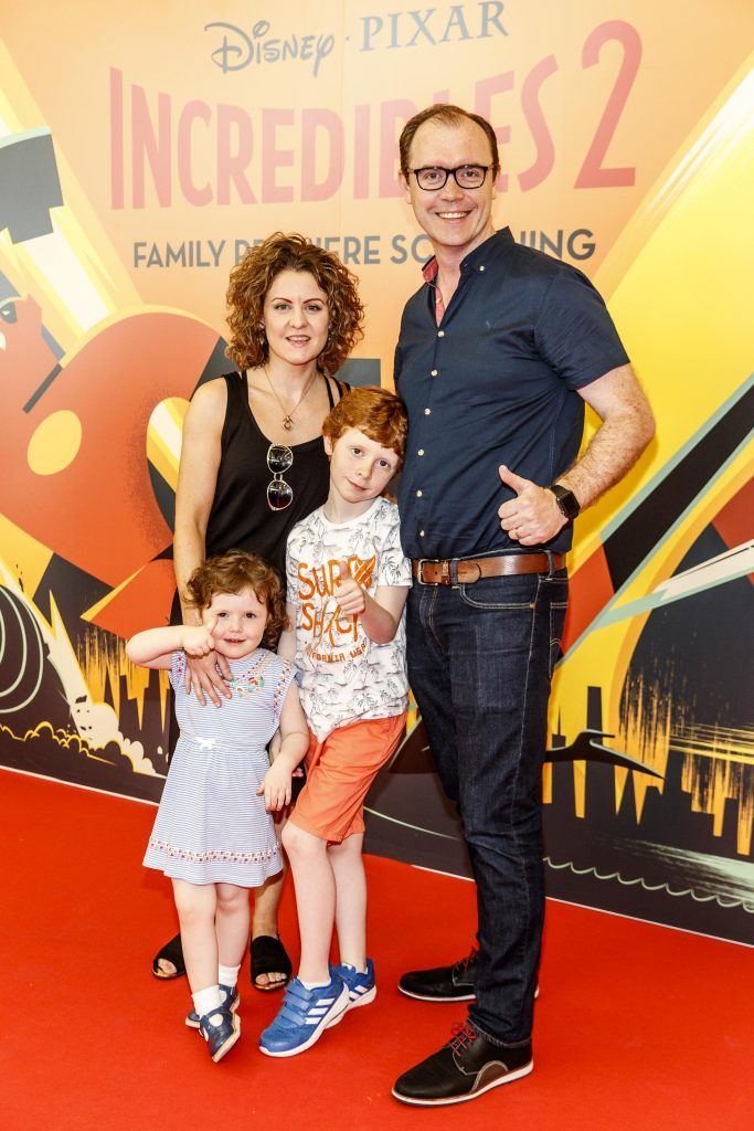 Brian Redmond with family Jen, Anna (3) and Alex (8) pictured at the special family preview screening of Incredibles 2 in ODEON Point Village. Picture Andres Poveda