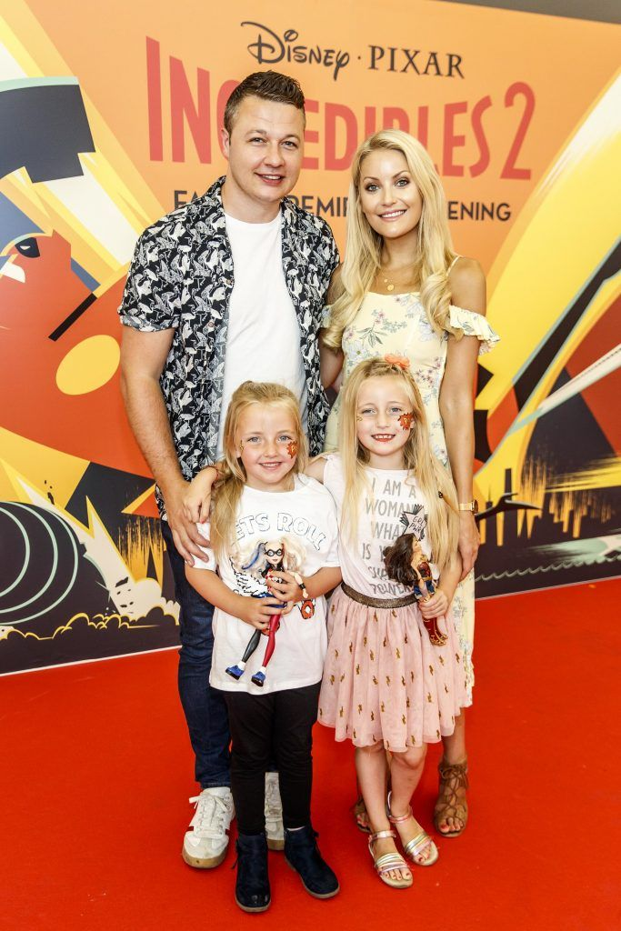 Keith Malone and Kerri Nicole Blanc with Rea Malone (7) and Kayla Blanc (7) pictured at the special family preview screening of Incredibles 2 in ODEON Point Village. Picture Andres Poveda