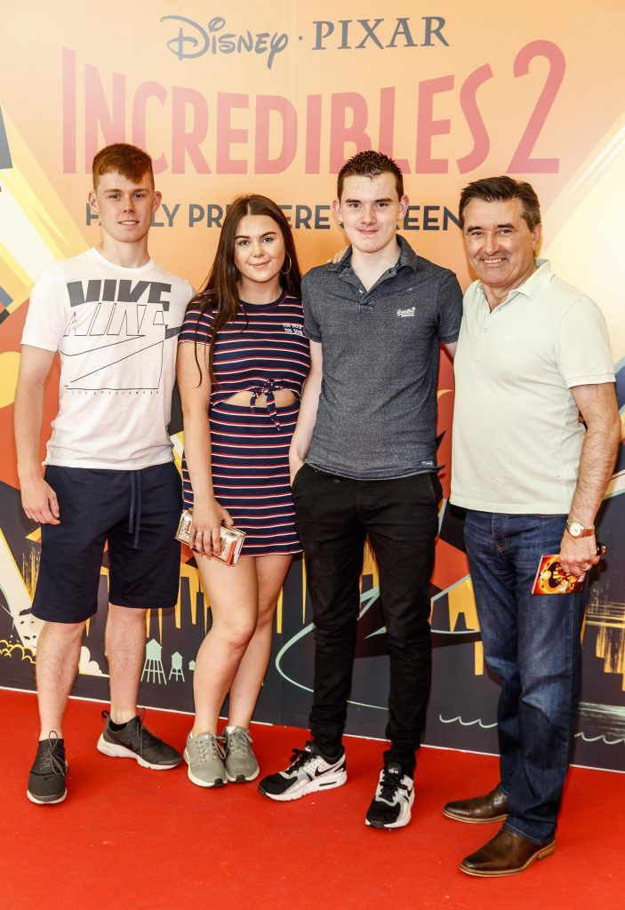 Mathew King, Aiveen Wakefield, Alex King and Martin King pictured at the special family preview screening of Incredibles 2 in ODEON Point Village. Picture Andres Poveda