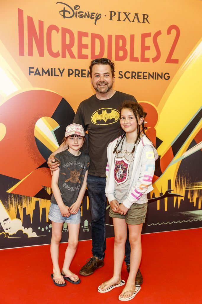 Aoife (8), Rossa and Lillie O Sioradain (11) pictured at the special family preview screening of Incredibles 2 in ODEON Point Village. Picture Andres Poveda