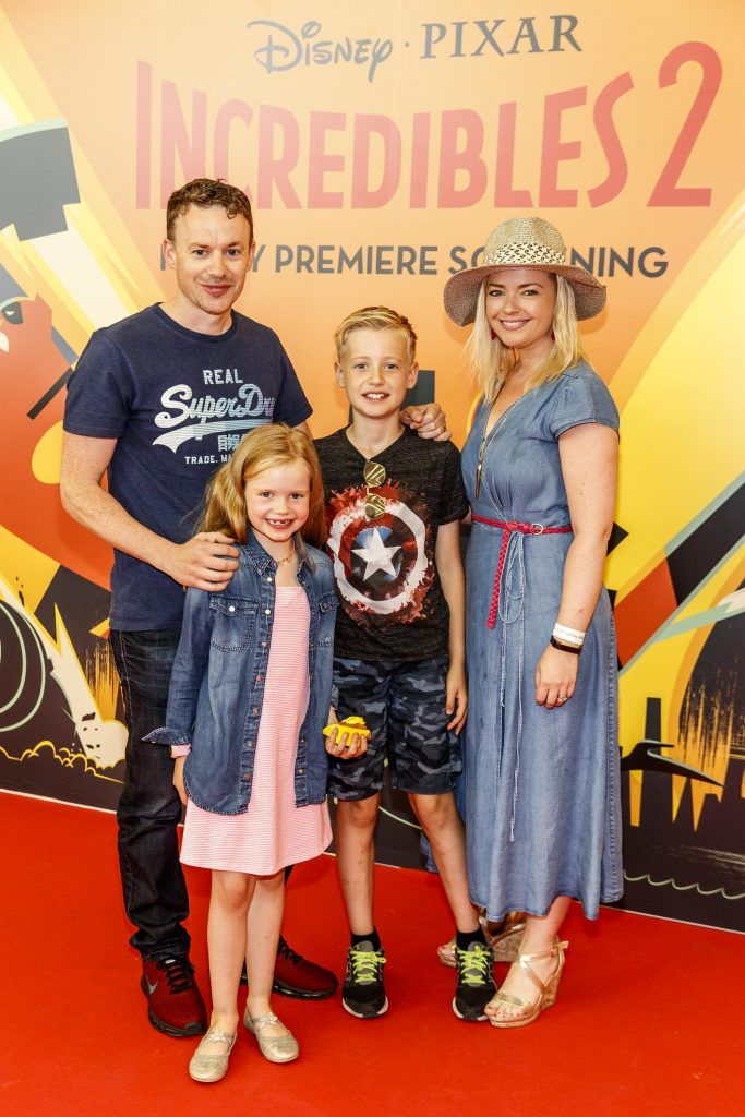 Steven and Helen Curran with Ella (7) and Conor (10) pictured at the special family preview screening of Incredibles 2 in ODEON Point Village. Picture Andres Poveda