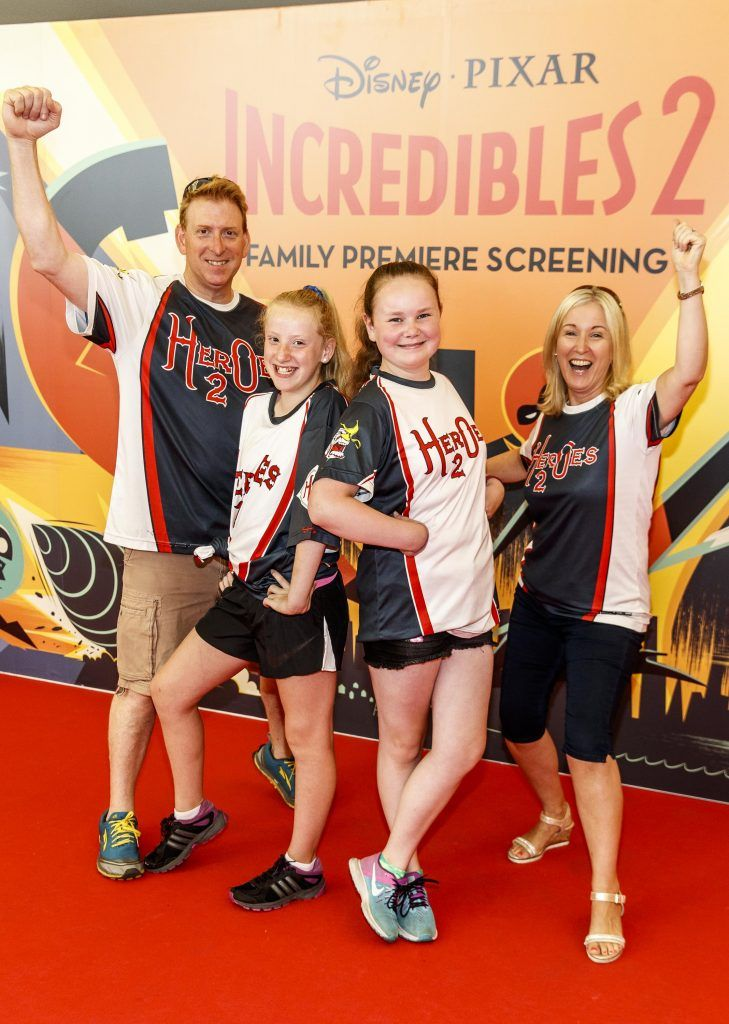 Sephen Patterson, Sienna Patterson (11), Suzanne Reidy (11) and Jennifer Patterson pictured at the special family preview screening of Incredibles 2 in ODEON Point Village. Picture Andres Poveda