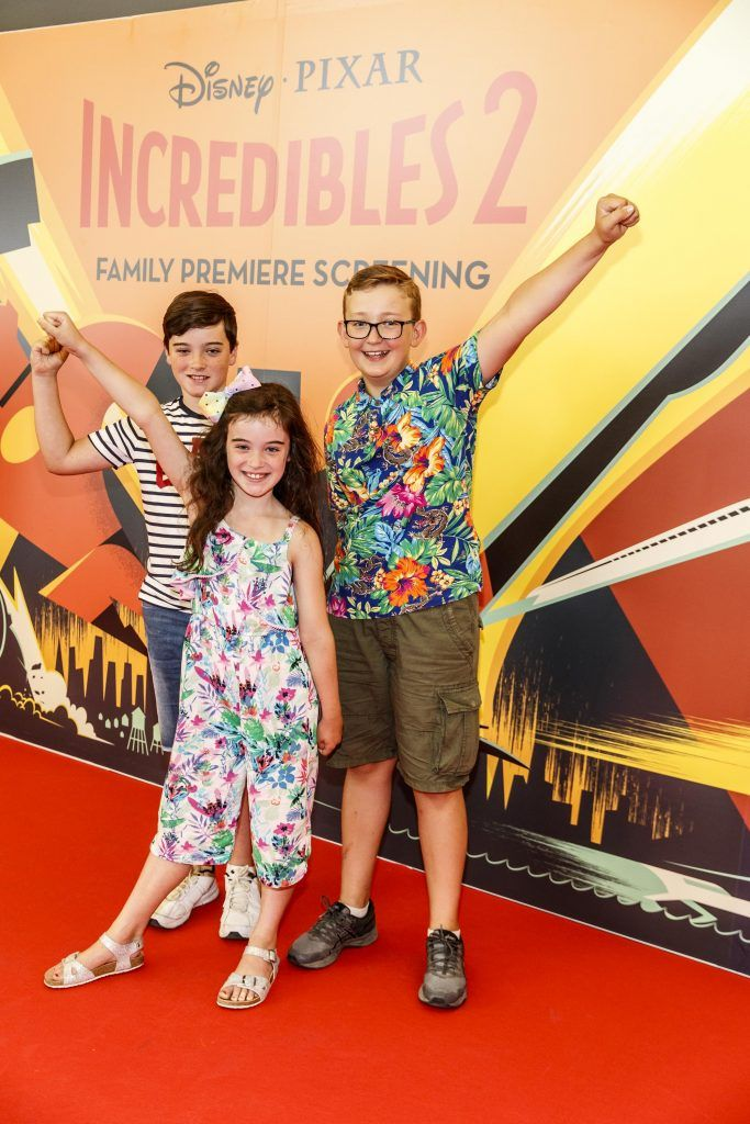 Joshua (10) Amelia (8)  and Cillian (10) Homan pictured at the special family preview screening of Incredibles 2 in ODEON Point Village. Picture Andres Poveda