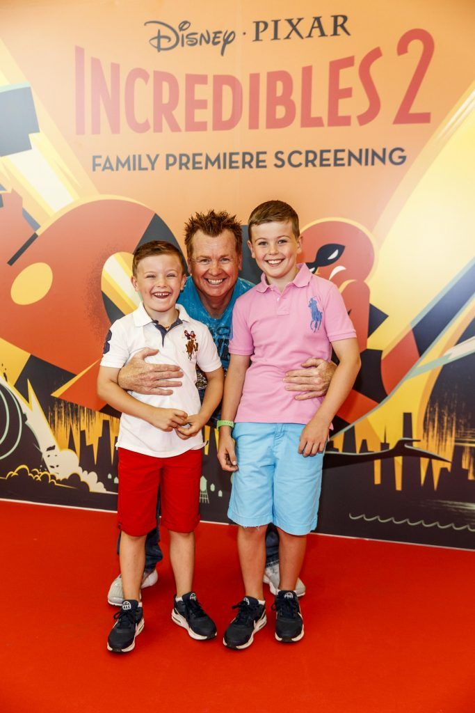 Mark Kelly with Taighe and Senan pictured at the special family preview screening of Incredibles 2 in ODEON Point Village. Picture Andres Poveda