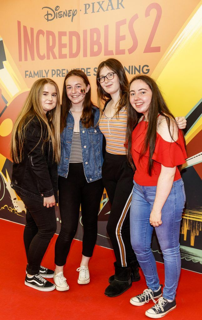 Ava Taffe, Shauna O'Byrne,  Aebh Mullen-Peters and Hannah Donnelly pictured at the special family preview screening of Incredibles 2 in ODEON Point Village. Picture Andres Poveda