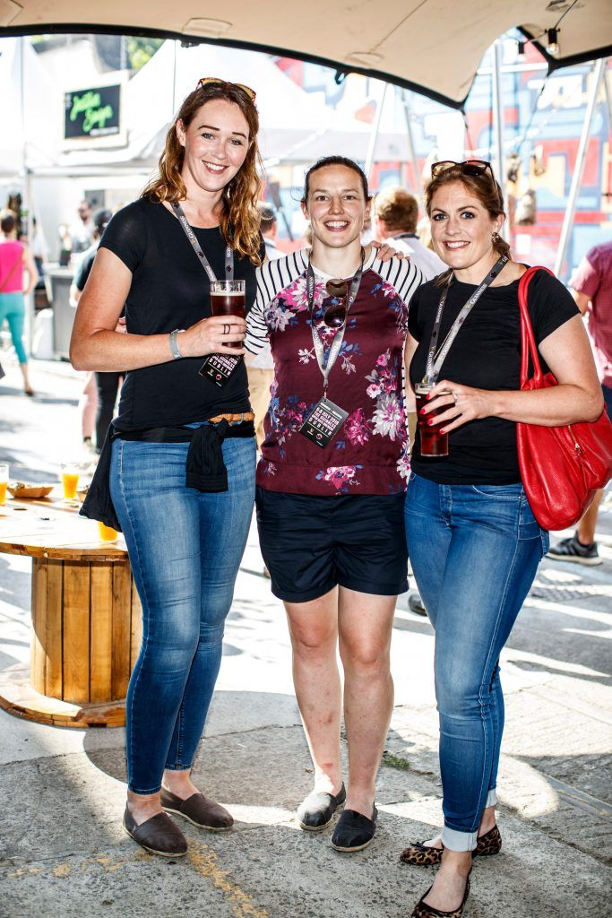 Maz Reilly, Paula Fistzpatrick and Fiona Coghlan pictured at GUINNESS X MEATOPIA at the Open Gate Brewery. Picture: Andres Poveda
