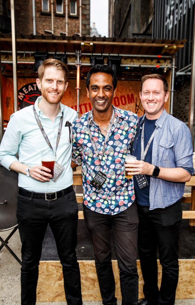 Rob Morgan, Clint Drieberg and David Mitchell pictured at GUINNESS X MEATOPIA at the Open Gate Brewery. Picture: Andres Poveda