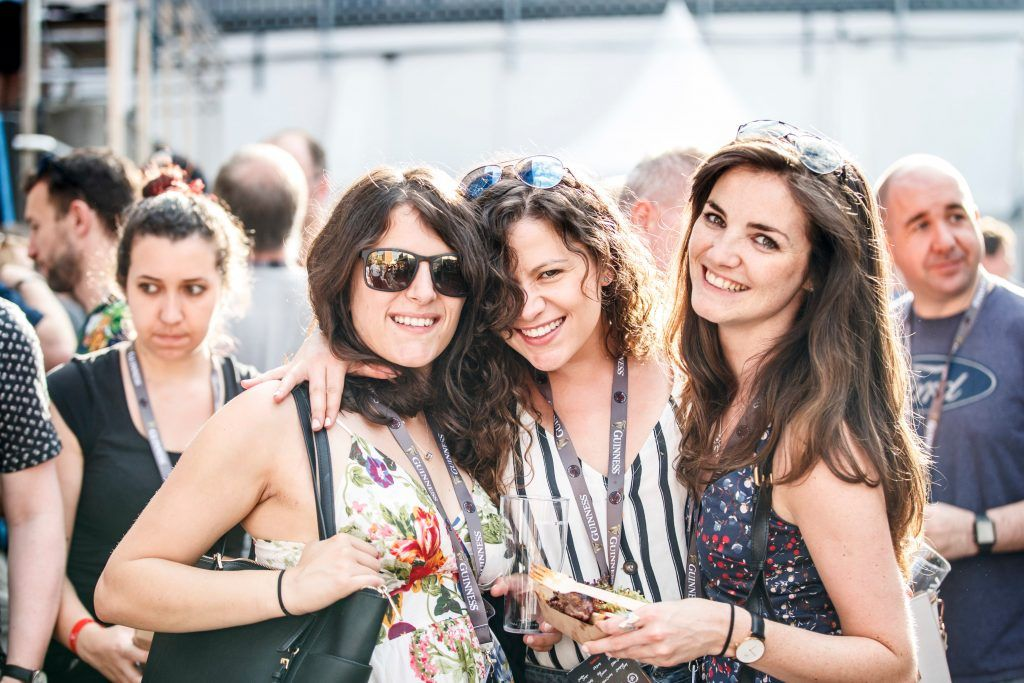 Naisrin Elsafty and Zahrah Elsafty and Niamh O Catain pictured at GUINNESS X MEATOPIA at the Open Gate Brewery. Picture: Andres Poveda