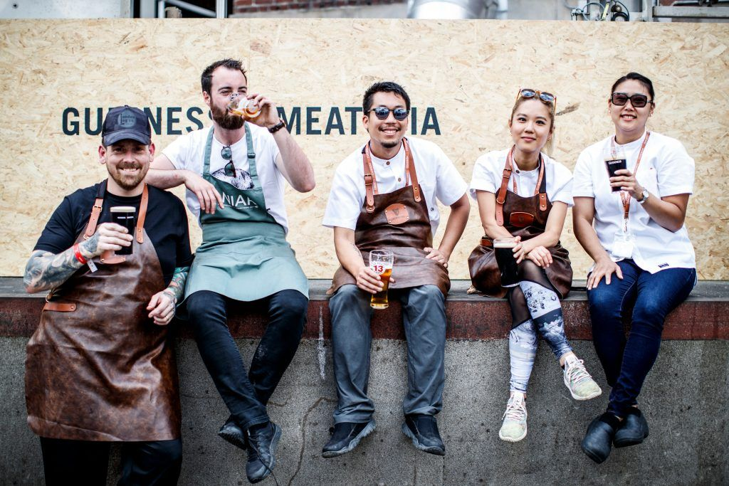 Irish and international chefs Liam Kirwan, Killian Crowley, Ugene Law, Esther Choi and Jina Jang pictured at GUINNESS X MEATOPIA at the Open Gate Brewery. Picture: Andres Poveda