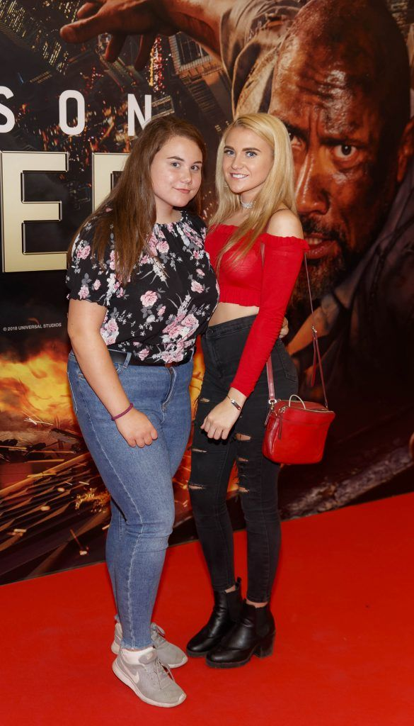 Katie Manning and Hannah-Rose Eccles pictured at the Universal Pictures special preview screening of SKYSCRAPER, at Odeon Point Square, Dublin. Picture: Andres Poveda