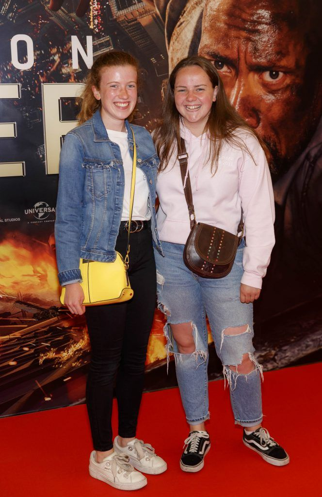Iseult Scalon and Aoifa Taylor pictured at the Universal Pictures special preview screening of SKYSCRAPER, at Odeon Point Square, Dublin. Picture: Andres Poveda