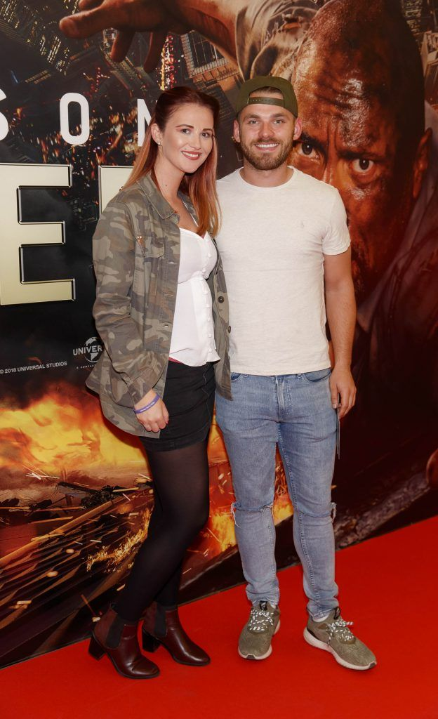 Ciara West and Darren Farrelly pictured at the Universal Pictures special preview screening of SKYSCRAPER, at Odeon Point Square, Dublin. Picture: Andres Poveda