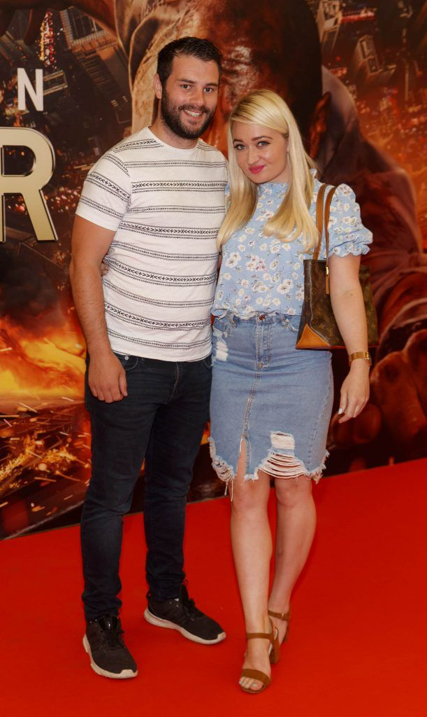 Stephen Maher and Jade McNamara pictured at the Universal Pictures special preview screening of SKYSCRAPER, at Odeon Point Square, Dublin. Picture: Andres Poveda