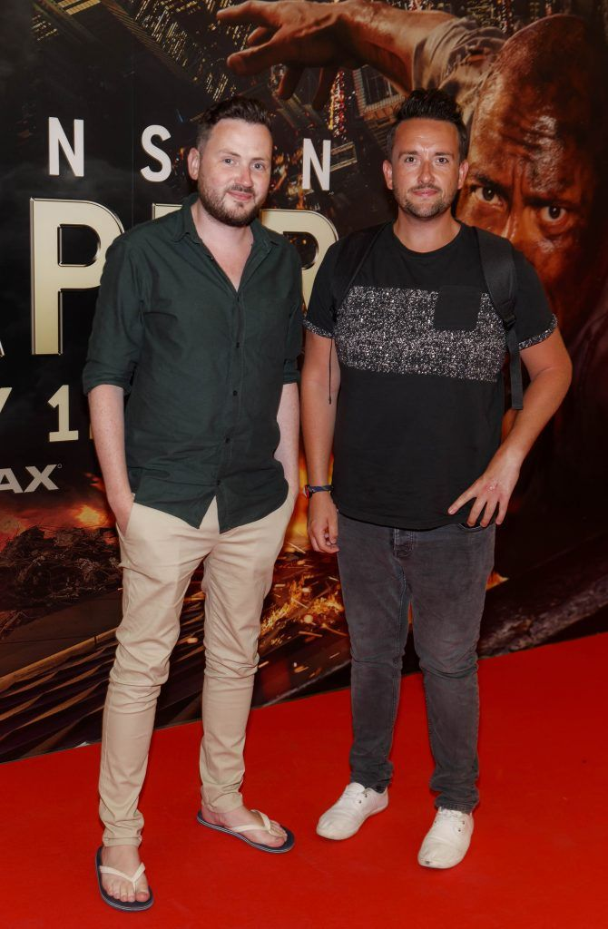 Steven McDermot and Keith Kelly pictured at the Universal Pictures special preview screening of SKYSCRAPER, at Odeon Point Square, Dublin. Picture: Andres Poveda
